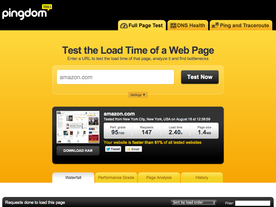 Pingdom page speed tool