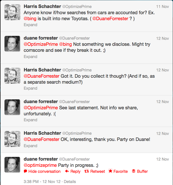Twitter conversation with Duane Forrester