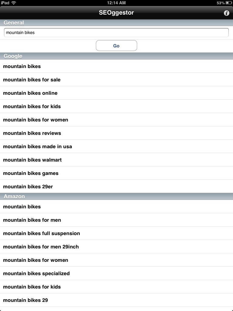 SEOggestor Keyword Tool for iPad