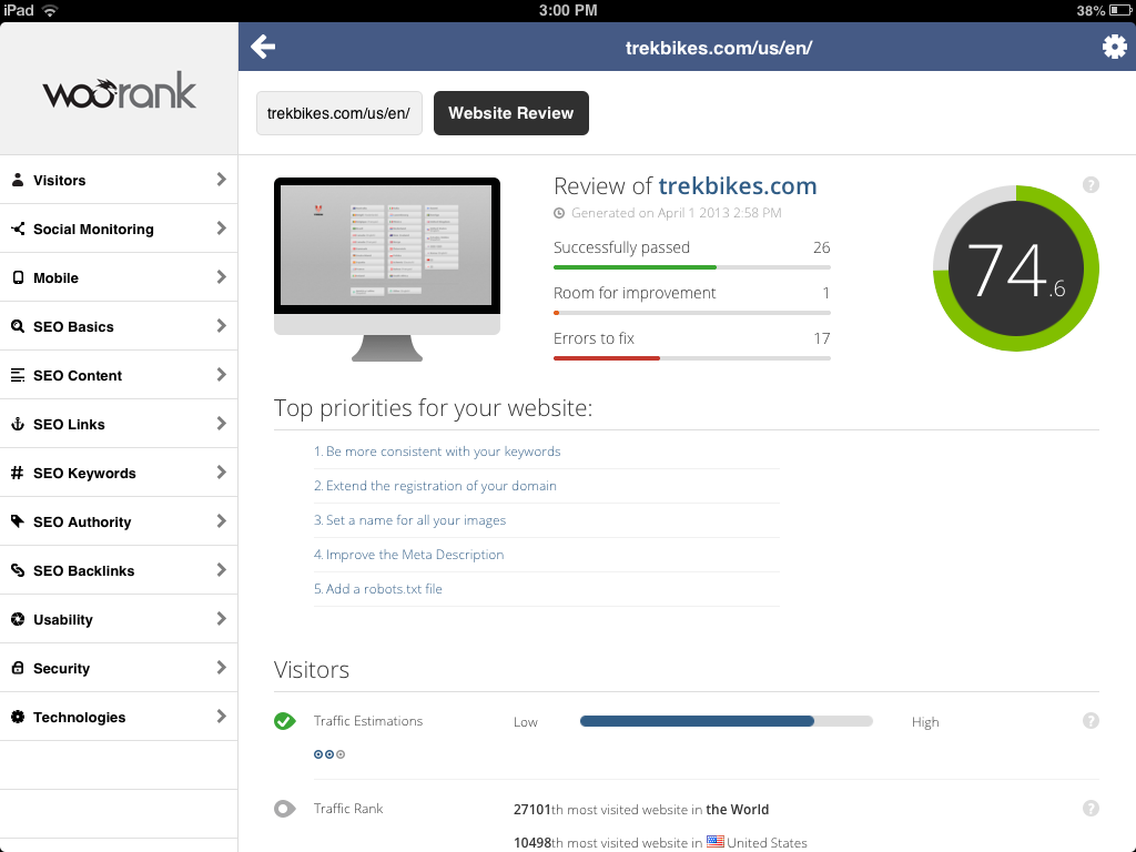 Woorank SEO app for iPad